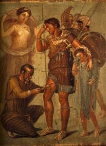Enee-blesse-est-soigne-par-Lapyx-45x48-cm-IVe-Style-Pompei-Maison-de-Siricus