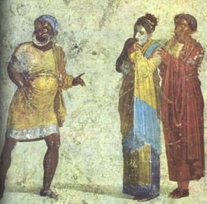 scène de comédie fresque atrium pompéi